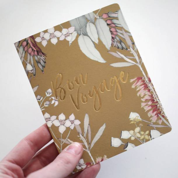 Bespoke Letter Press Bespoke Letterpress Greeting Card - Native Bon Voyage (Foil)