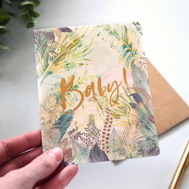 Bespoke Letter Press Bespoke Letterpress Greeting Card - Baby! (Jungle)
