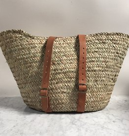 "Woven Market Basket Backpack with Leather Handles - 14""x18"""