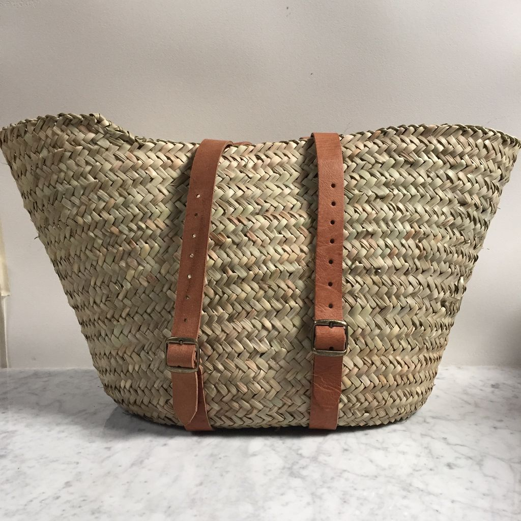 """Woven Market Basket Backpack with Leather Handles - 14""""x18"""""""