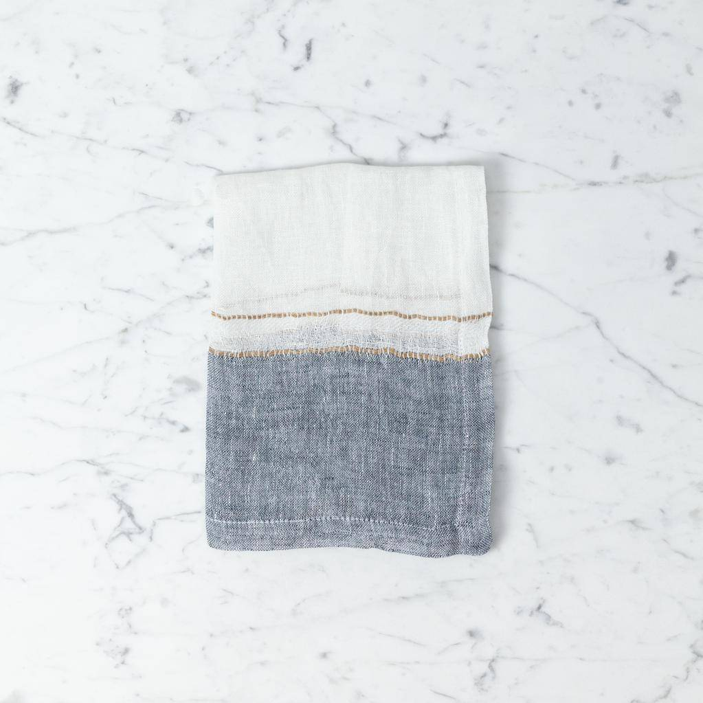 Belgian Linen Napkin - West Hinder Oyster Stripe - 16 x 16 in
