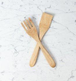 Olivewood Geometric Salad Fork Set