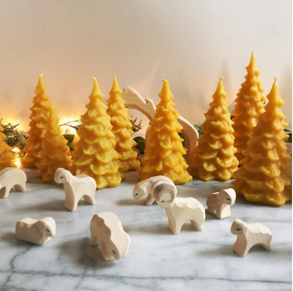 Old Mill Candles Delicate Beeswax Pine Tree - Large - 6 in