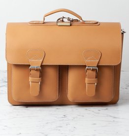 Ruitertassen Natural Leather Satchel - Convertible Shoulder or Backpack Straps - 2 Compartments
