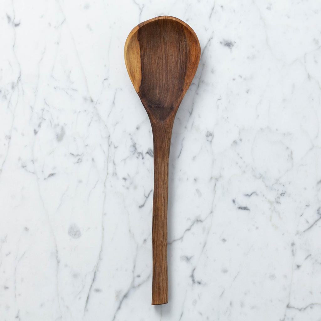 "Kenyan Olive Wood Paddle Cooking Spoon - 11""L"