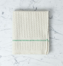 Swedish Cotton Waffle Weave Cleaning Dish Cloth with Green Stripe 22x18
