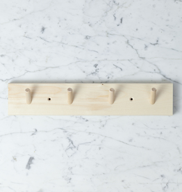 Swedish Birch Peg Rack with 4 Pegs - 15 in