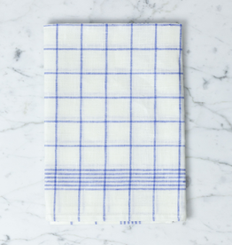 "Blue Checked Linen Kitchen Towel - 20"" x 28"""