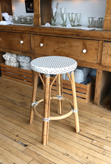 Sika-Design Simone Rattan Counter Stool - White with Cappuccino Dots - 27 in H