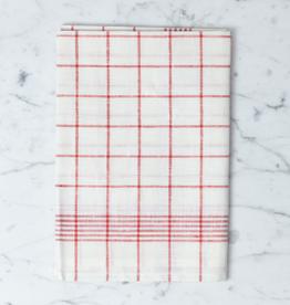 """Burstenhaus Redecker Red Checked Linen Kitchen Towel - 20"""" x 28"""""""