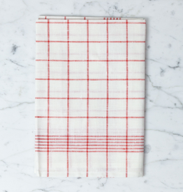 "Red Checked Linen Kitchen Towel - 20"" x 28"""