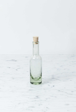 Mexican Recycled Glass Slender Bottle Small with Cork Top