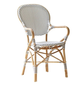 Sika-Design Isabell Rattan Bistro Arm Chair - White