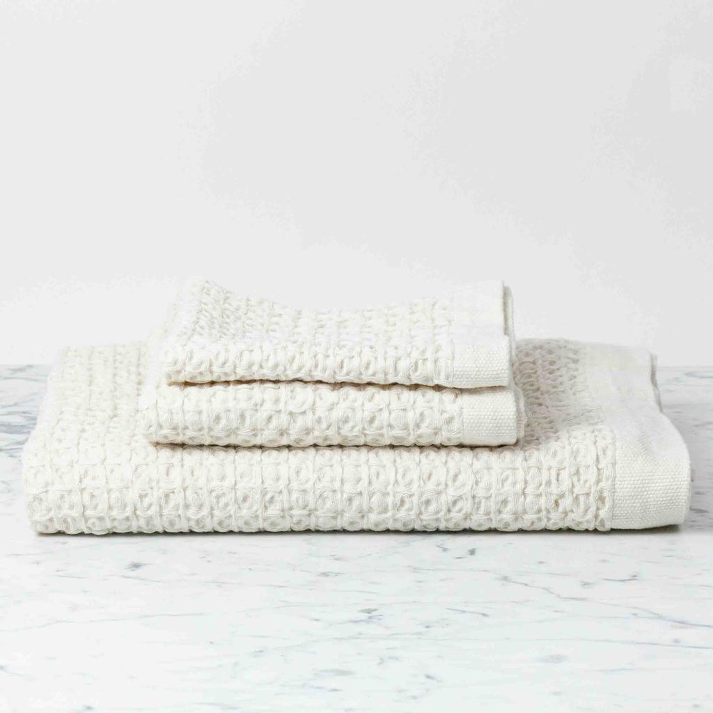 Lattice Waffle Bath Towel - Cotton + Linen - Ivory