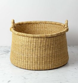 Natural Woven Grass Floor Basket - Small