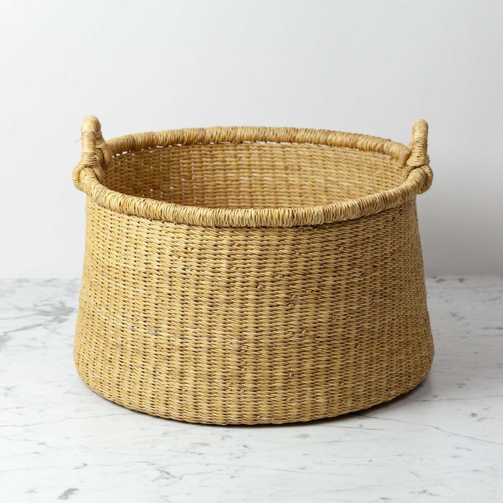 Natural Woven Grass Floor Basket - Small