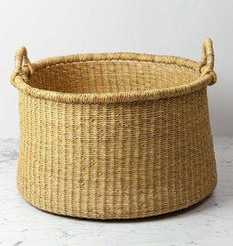 Natural Woven Grass Floor Basket - Medium
