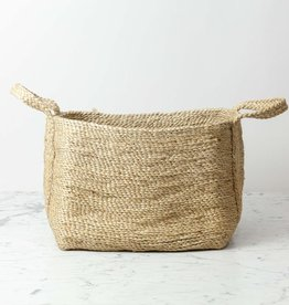 "Maison Bengal Natural Jute Rectangular Storage Basket with Handles - 18"" x 12"""