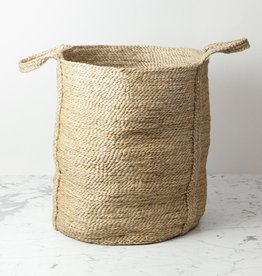 "Maison Bengal Natural Jute Round Basket Hamper with Handles - 22"" x 16"""