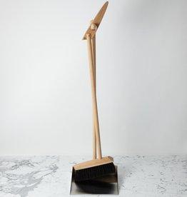 German Standing Dust Pan + Broom Set Beech Stainless Steel and Horsehair