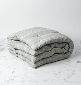 TENSIRA Handwoven Cotton Floor Cushion - Kapok Filling - Grey + White Thick Stripe - 38 x 38 in