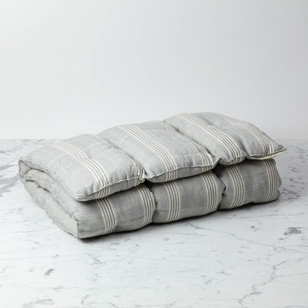TENSIRA Handwoven Cotton Slim Cushion - Kapok Filling - Grey + White Thick Stripe - 24 x 48 in