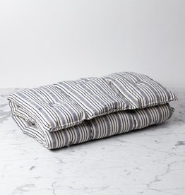 TENSIRA Handwoven Cotton Slim Cushion - Kapok Filling - Navy blue + Off White Thick Stripe - 24 x 48 in