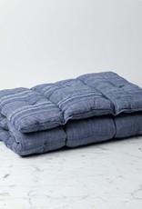 TENSIRA Handwoven Cotton Slim Cushion - Kapok Filling - Off White + Navy Blue Skinny Stripe - 24 x 48 in