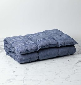 TENSIRA Handwoven Cotton Slim Cushion - Kapok Filling - Off White + Navy Blue Skinny Stripe - 24 x 48 in