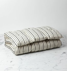 TENSIRA Handwoven Cotton Slim Cushion - Kapok Filling - Off White with Bold Black Even Stripe - 24 x 48 in