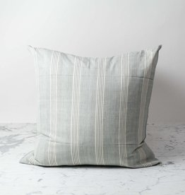 TENSIRA Handwoven Cotton Pillow with Down Insert - Grey + White Thick Stripe - 24 x 24 in