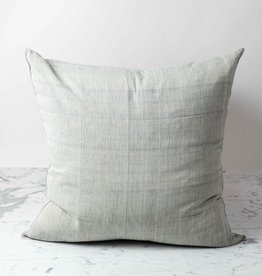 TENSIRA Handwoven Cotton Pillow with Down Insert - Pale Grey - 24 x 24 in