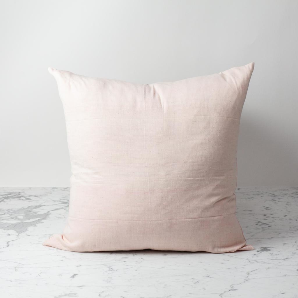 TENSIRA Handwoven Cotton Pillow with Down Insert - Pale Pink - 24 x 24 in