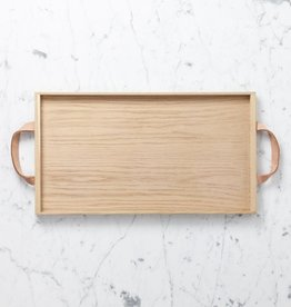 "Skagerak Danish Norr Tray with Leather Handles - Large - Oak - 18"" x 10"""
