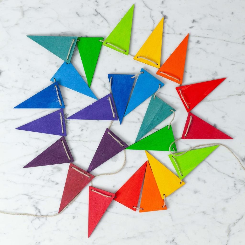 Grimm's Toys Wooden Rainbow Penant Flags