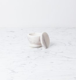 Sir Madam Simple Marble Salt Cellar with Lid - White