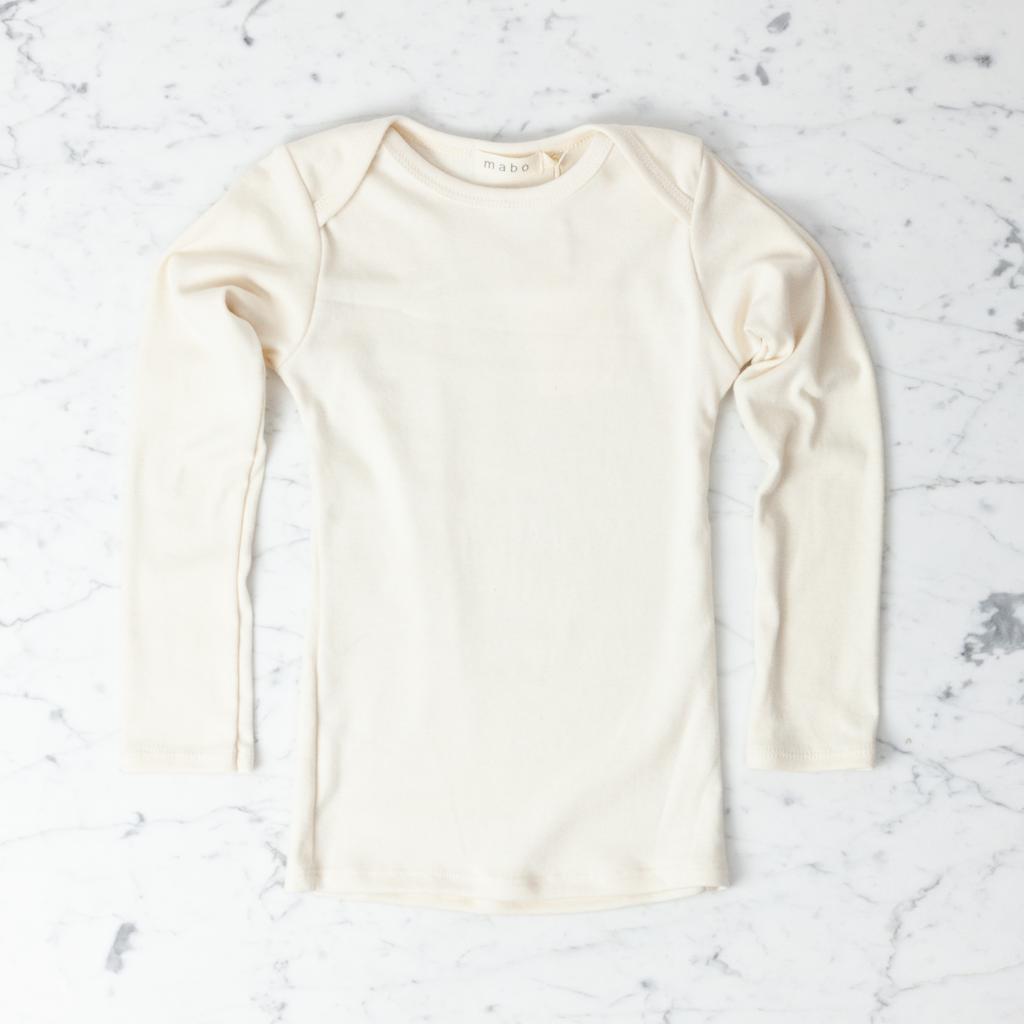 Mabo Kids Organic Cotton Long Sleeve Tee Shirt - Natural - 4/5 Year