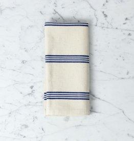 TENSIRA Handwoven Cotton Napkin - Off White with Navy Blue + Bright White Stripe - 19 x 19 in