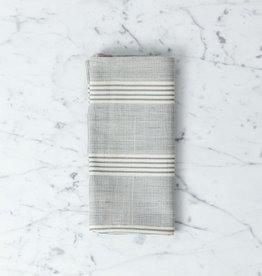 TENSIRA Handwoven Cotton Napkin - Grey + White Thick Stripe - 19 x 19 in