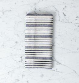 TENSIRA Handwoven Cotton Napkin - Navy blue + Off White Thick Stripe - 19 x 19 in