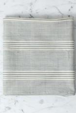 TENSIRA Handwoven Cotton Kitchen Towel - Grey + White Thick Stripe - 20 x 28 in