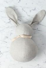 Polka Dot Club Handmade Stuffed Large Rabbit - Natural Linen - 12 in.