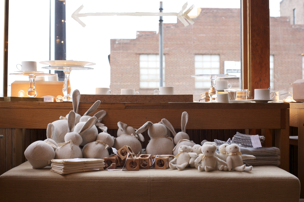 Polka Dot Club Handmade Stuffed Small Rabbit - Natural Linen - 10 in.
