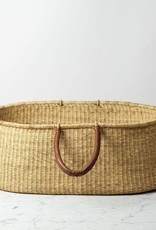 Design Dua Elephant Grass Deep Napping Basket with Leather Handles - 29 x 16 x 10 in