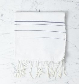 Abanja Bakkali Hand Towel - White with Grey Stripe