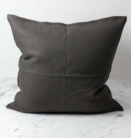 Belgian Linen Napoli Down Pillow - Cafe Noir - 25 x 25 in