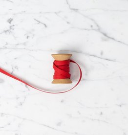 Angela Liguori Italian Cotton Ribbon - Red - 1/4 in Width - Sold Per Yard