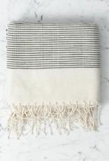 Creative Women Riviera Ribbed Bath Towel - Natural with Grey Stripe