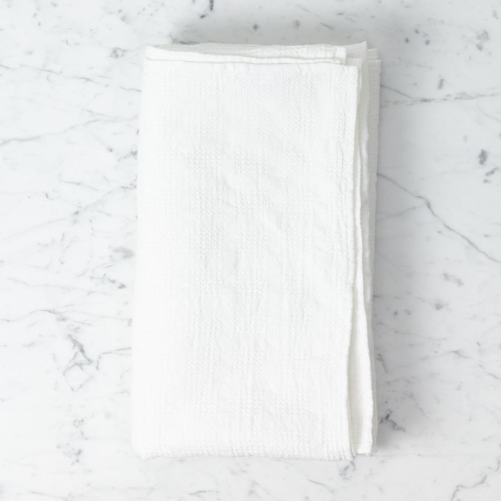 Linge Particulier Washed French Linen Waffle Bath Towel - Vintage Optic White - 40 x 62 in