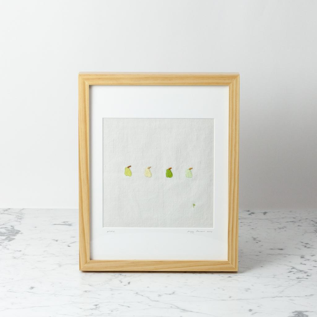 Elm Street Textiles Hand Embroidered Pears on Antique French Linen